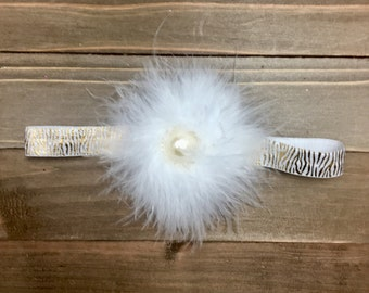 Gold & Ivory headband, Feather Headband, Baby Girl Headband, Flowergirl Headband, Bridesmaid Headband, Toddler Headband, Flower Girl