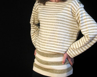 80s Glittery Gold Slouch Sweater S M by Castelbajac for Iceberg
