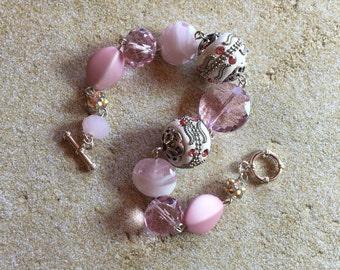 Pink Statement Bracelet, Glass Bead Bracelet, Beadwork Bracelet, Beaded Bracelet, Womens Jewelry