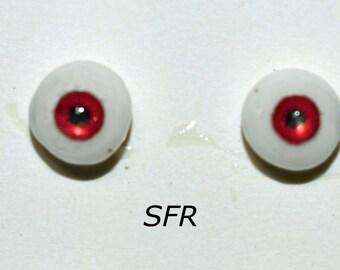 Hand Made Glass Like Eyes 5mm - Vampire Red SFR- for OOAK Art -Dolls