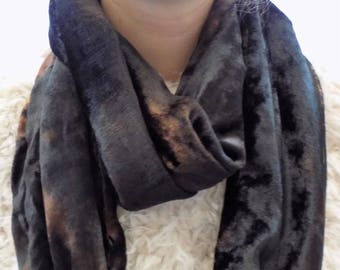 Black soft velvet scarf, up cycled scarf, infinity scarf, hand dyed scarf, loop scarf, eternity scarf, neck-wear,* Great gift