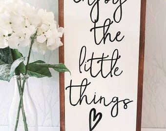 """Enjoy the little things wood sign 12x24"""""""
