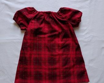 Red Plaid Dress - 6-12 Months - Baby Dress - Peasant Dress
