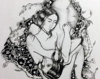 Intertwined Women in Flowers Illustration