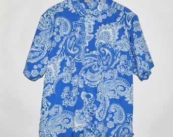 90's Vintage VTG Ocean Pacific Paisley Polyester Hawaiian Button Up Shirt Medium