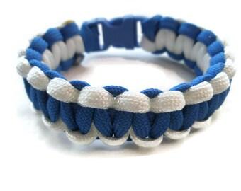 Paracord Survival Bracelet White And Blue Accessories Parachute Cord Bracelet Team Spirit Paracord 2 Color Bracelet thick chunky jewelry