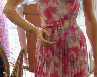 "Original vintage 50s Summer dress ""made in Berlin"" Gr. 36 with pleated-skirt in pink and white"
