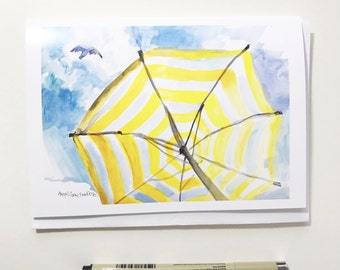 Beach umbrella, 5x7 card, Ready to Ship greeting card