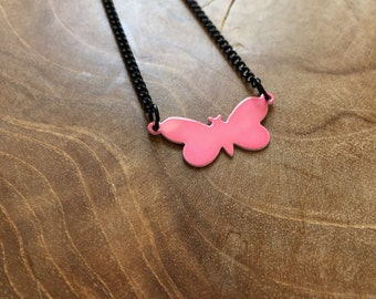Pink Butterfly - a cute necklace with a little butterfly. Pink, black, cute, animal, butterfly, little, tiny