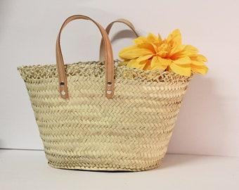 IBIZA MARKET BAG with Leather handles, French style basket, Panier, Kuerf,winkelmandje, Eco bag, Shopping Bag,Einkaufskorb,  handlekurv,