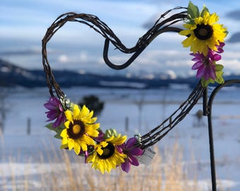 Sunflower and Purple Daisy Barbwire Wreath