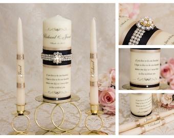 Champagne Unity Candle Set, Wedding Unity Candle Set, Champagne Candle, Black Unity Candle, Personalized Unity Candle
