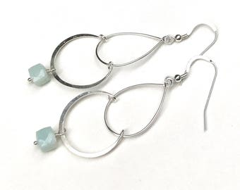 Sterling Silver Amazonite Long Dangle Teardrop Minimalist Earrings, Lightweight, for Her Under 80, US Free Shipping & Gift Wrap