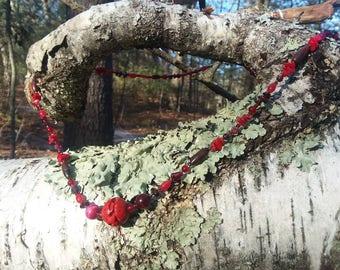 Red Cinnabar Resin Necklace
