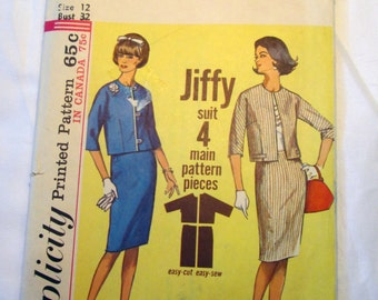 """1960s Suit Jacket and Skirt Jackie O Mad Men Jiffy sewing pattern Simplicity 5830 Size 12 Bust 32"""""""