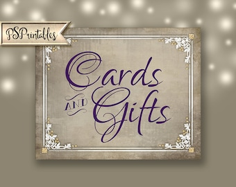 Cards and Gifts Printable Wedding Sign- purple plum, cream, white Instant Download - 4 sizes - Old Lace Collection