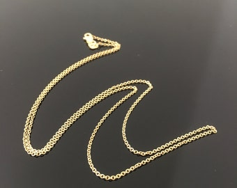 16 Inch 18 Inch 20 Inch Cable Link Yellow Gold Chain- 14K Yellow Gold Cable Link Chain with Lobster Clasp- Lobster Clasp Cable Link Chain