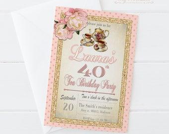 Tea Party Birthday Invitation / Printable, for Adult