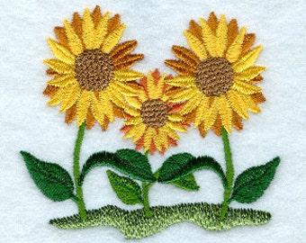 Beautiful Sunflower trio Embroidered Flour Sack Hand/Dish Towel