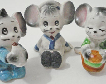 3 Little Mice Figurines Made In Japan Vintage