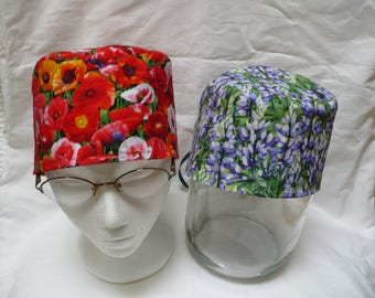 Red poppy floral print, or  blue lupine floral print traditional tie back scrub cap, 100% cotton