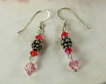 SALE Pink Earrings, Crystal Earrings, Sterling Silver Earrings