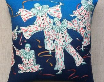 Vintage Pierrot Fabric Cushion By Schwartz Liebman 40cm x 40cm