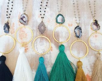 Agate Silk Tassel Necklace - 14k Gold Filled Beaded Gemstone Jewelry