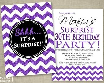 Purple Surprise Birthday Invitation 30th 18th 40th Adult Party Invite Chevron Black Silver Glitter Sparkle Effect 2 Sided Printable Invite