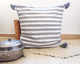 Moroccan Berber Pompom pillow cover white with light grey stripes · Hand woven cotton with bobble, handmade pillow cover Deco Pillow