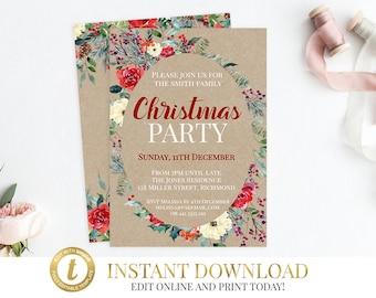 Templett INSTANT DOWNLOAD Christmas Invitation, Christmas Party, Christmas, Printable, Christmas Invite, Printable Invitation, Invitations