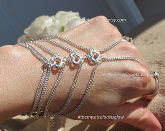 Silver hand jewelry hand chain, bracelet ring, delicate Silver plated lead free and nickel free slave bracelet with chain ring attached