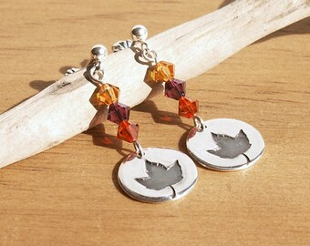 Tiny Maple Leaves Sterling Earrings fall colors recycled Fine Silver disc unique autumn design swarovski crystal sterling posts