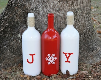 "Christmas Bottle/Christmas Decorations/Holiday Decorations/""JOY"" Bottles/Holiday Bottles"