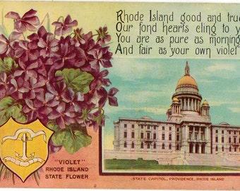 Linen Postcard, Rhode Island, State Capitol, Providence, Rhode Island, State Flower, ca 1910
