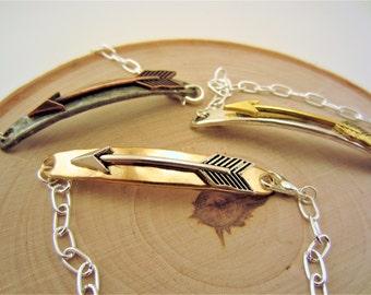 3 best friend bracelet. Arrow bracelet. Friendship bracelet. Charm bracelet. Layering jewelry. Silver bracelet. Best friend gift.