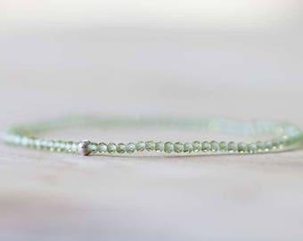 Peridot Stretch Bracelet, Ultra Delicate Beaded Peridot Elastic Stacking Bracelet, August Birthstone