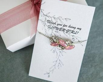 Thank you gift flower girl bracelet wedding jewelry flower girl gifts Will you be my flower girl proposal Matron of honor ask Flower girl