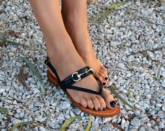 Black leather sandals, Slingback sandals, Greek leather sandals, Available in Three different colors ''Dupe''