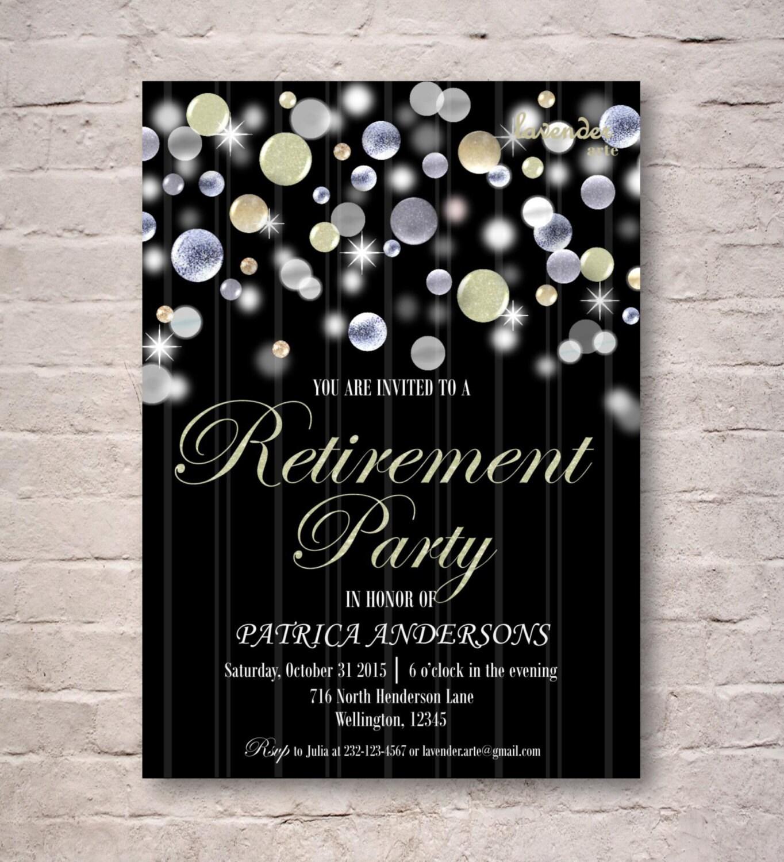 Silver Pearl Glitter Retirement Party Invitation DIY