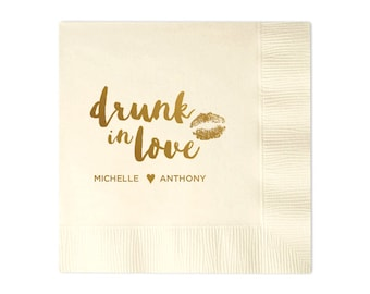 Smooch Drunk In Love Personalized Napkins - Set of 100 - Custom Printed Napkins, Foil Stamped Napkins, Party Favors