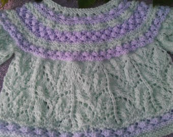hand knitted baby jacket green and purple