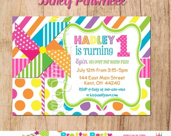 GIRLY PINWHEEL invitation - YOU Print