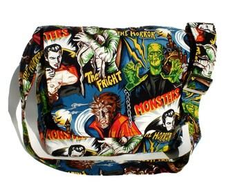 Messenger bag / Rockabilly Bag /Horror Movie Hollywood Monsters Dracula Frankenstein Large Messenger bag