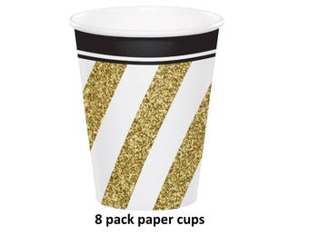 Black and Gold Party Cups, Paper Tableware, 8CT, Graduation Decorations, Party Supplies, Gold Stripes, Anniversary, Birthday, Disposable