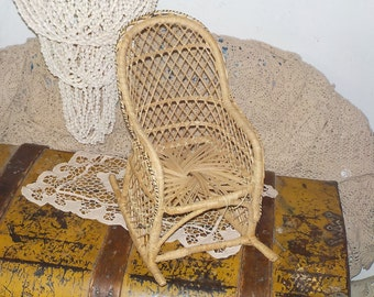 Rattan Wicker Rocker for Dolls, Rattan Doll Furniture,  Doll Furniture, Doll Chair, Doll Rocking Chair, Vintage Doll Furniture,  /:)s*