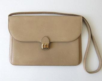VINTAGE DIOR BAG, Dual sand color leather Christian Dior shoulder bag/clutch from the 1980's