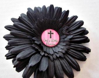 Flower Clip, Flower Bows, Church Bows, Religous Accessories, Jesus, God's Princess 4 Inch Flower Hair Clip By Sweetpeas Bows & More