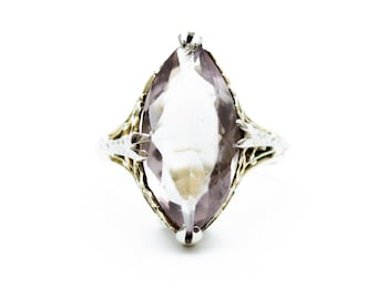 Amethyst Ring, Light Amethyst Ring, Yellow Gold Amethyst Ring, 14K Amethyst Ring, Filigree Amethyst Ring, Marquise Amethyst Ring
