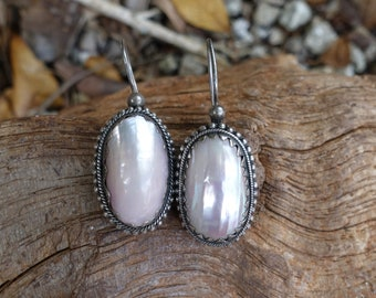 Discounted! Mother of Pearl Earrings, Bali Shell Earrings, Tribal Shell Earrings, Gypsy, Beach, Bridal Earrings, June Birthday, Pink Pearl